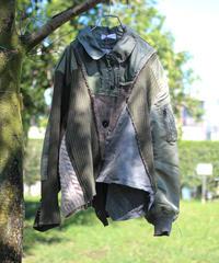 """""""その傷はやさしさになる"""" Beautiful scratches Short coat, reconstructed from mix vintages"""