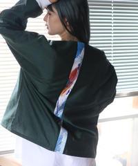 《0<nisai+α≦Y》  three button shirt jacket / Green silk cotton