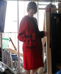 """""""彼女が忘れていった口紅"""" Rouge she forgot, reconstructed from red knit vintages"""
