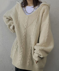 【RE;CIRCLE】 Remake Aran Knit Mexican Parker ① /210113-015