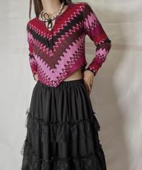 【USED】  Crochet Knit L/S Top⑥/211014-045