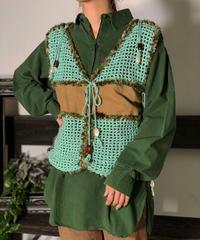 【Used】Net knitting Knit Vest / 201008-016