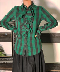 【Used】 Block Check Ruffles Shirt  /201008-006