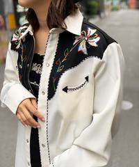 【Used】Vintage H BAR C Western Shirts White  /200531-015