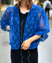 【Used】L/S Lace Flower  Open Jacket  BLU
