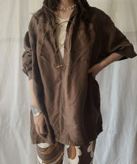 【RE;CIRCLE】 RE Lace Up Silk Pull Over Shirt② /210613-006