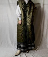 【RE;CIRCLE】 Remake Liner Piping Long Vest with  Ribbon ① /210127-034