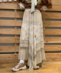 【Used】  Embroidery Long Skirt Beige / 200901-050