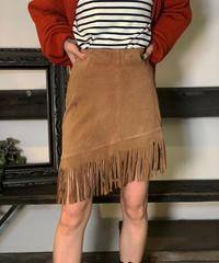 【Used】Leather Fringe Mini skirt/ 201011-012