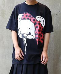 [yodare bear(ヨダレベア)] リボン Big T-shirt (BlackxRed)