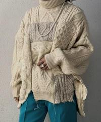 【RE;CIRCLE】 Patchwork Aran Knit ③ /210106-004