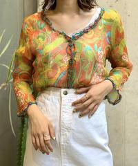 【Used】See-through Paisley  Shirt /200805-26