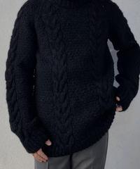 【MEND】 Kyoto Kurozome Aran Knit Sweater ③ /210115-003