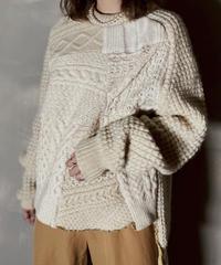 【RE;CIRCLE】 Patchwork Aran Knit /201125-015