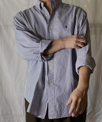 【USED】 Ralph Lauren Stripe L/S Shirt②/210721-029