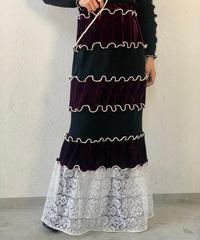 【RE;CIRCLE】 Mellow  Velour × Lace Skirt ③ / 210120-009