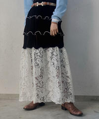 【RE;CIRCLE】 Mellow Velour × Lace Skirt /210113-004