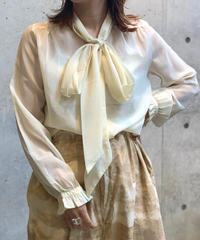 【Used】Color Ribbon See-Through Blouse