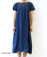 [MEND] 天然草木染め(藍染め) LINEN S/S ONE PIECE (AI3)