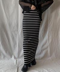 【USED】 Stripe Patterned Long Skirt/2100407-011