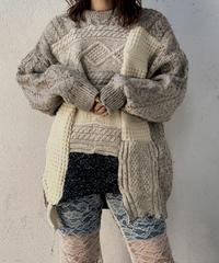 【RE;CIRCLE】 Patchwork Aran Knit ② /210106-003