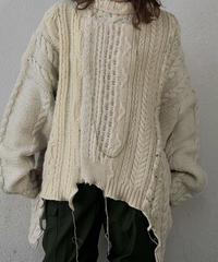 【RE;CIRCLE】 Patchwork Aran Knit ② /210113-007
