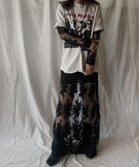 【USED】  USA Flower Patterned Lace Dress/210506-030