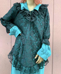 【Used】S/S Black Lace Tops  / 200818-005
