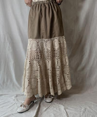 【RE;CIRCLE】 RE Crochet Long Skirt①/210512-016