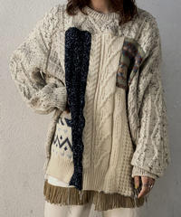 【RE;CIRCLE】 Patchwork Aran Knit ④ /210106-006