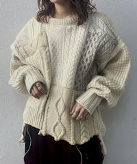 【RE;CIRCLE】 Patchwork Aran Knit ① /210106-001