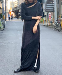 【Used】L/S Lame Long One-Piece  BLK