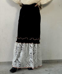 【RE;CIRCLE】 Mellow  Velour × Lace Skirt ⑤ / 210120-019