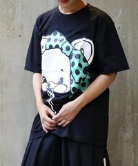[yodare bear(ヨダレベア)] リボン Big T-shirt (BlackxGreen)