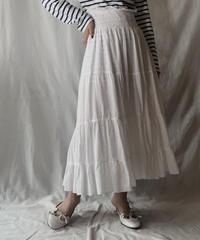 【USED】 White Cotton Long Skirt /210512-003