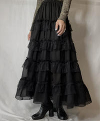 【USED】 Poly Lace Frill Long Skirt/211014-046