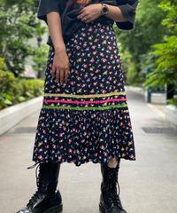 【Used】Flower Black Skirt