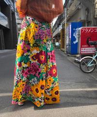 【Used】 Flower Pattern Long Skirt