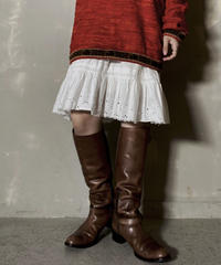 【USED】 White Cotton Medium Skirt / 201204-014