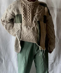 【RE;CIRCLE】 Patchwork Aran Knit Sweater /210130-002