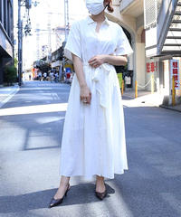 【Ladies】Waist Gather Linen Onepieace&Mask (White)