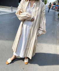【Ladies】Stripe Long Shirt (Beige)