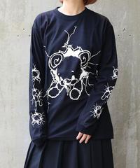 [yodare bear(ヨダレベア)] L/S クラッシュ Big T-shirt (Black)