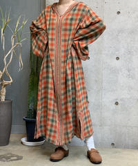 【Used】 L/S  Check  Hood One-Piece  /200922-019