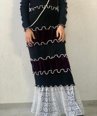【RE;CIRCLE】 Mellow  Velour × Lace Skirt ④ / 210120-010