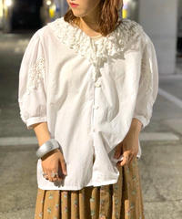 【Used】White cotton L/S  Blouse  2