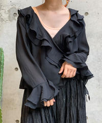 【Used】L/S See Though Ruffles  Shirt  / 200922-017