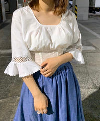 【Used】White cotton L/S  Short Blouse