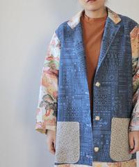 Blue x embroidery Kimono long jacket (no.100)