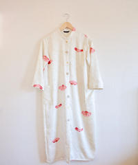 Silky White x Japanese plum Kimono stand collar dress (no.271)
